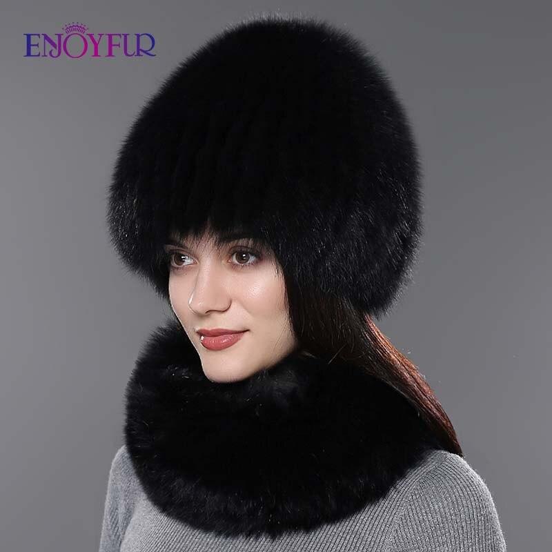 Femmes fourrure chapeau écharpe ensemble pour hiver naturel fourrure de renard écharpe et chapeau couleur unie nouvelle mode rue shoot chapeau et écharpe - 4