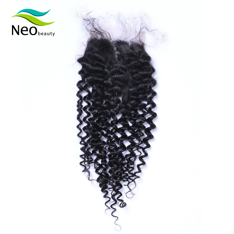 10A 4x4 Pre-plucked Lace Closure Kinky Curly Brazilian Remy Human Hair French Lace Natural Color Can Be Dyed Middle Part