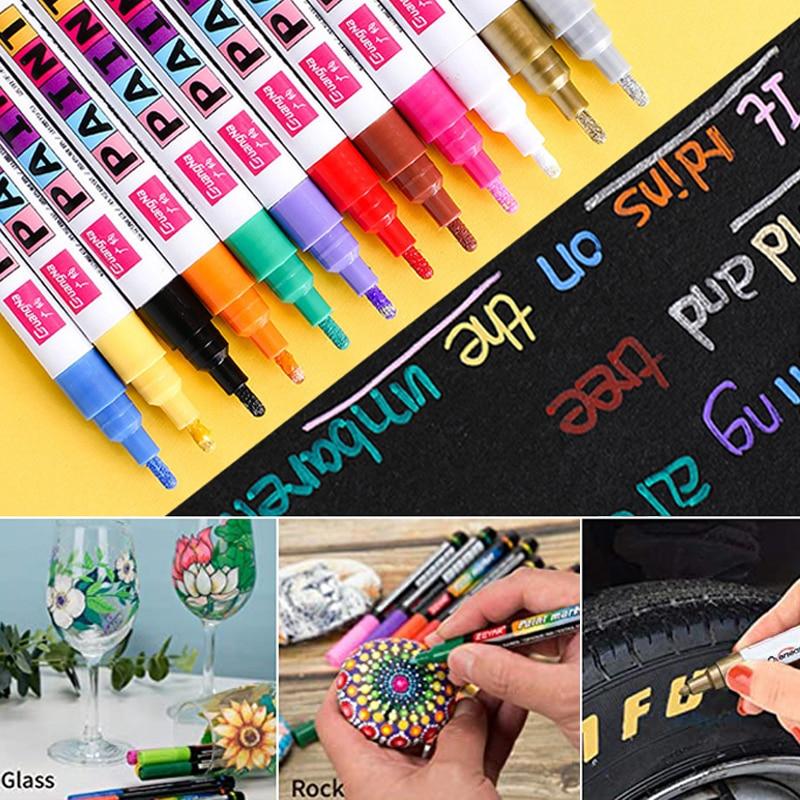 12 Color Paint Marker Pen Waterproof Permanent Oily Art Marker Pen for Car Tyre Tire Ceramic Rock Glass Mug Wood Fabric Canvas