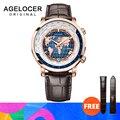 AGELOCER мужские часы Швейцарский люксовый бренд мировое время автоматические механические мужские наручные часы Сапфировая кожа мировое вре...