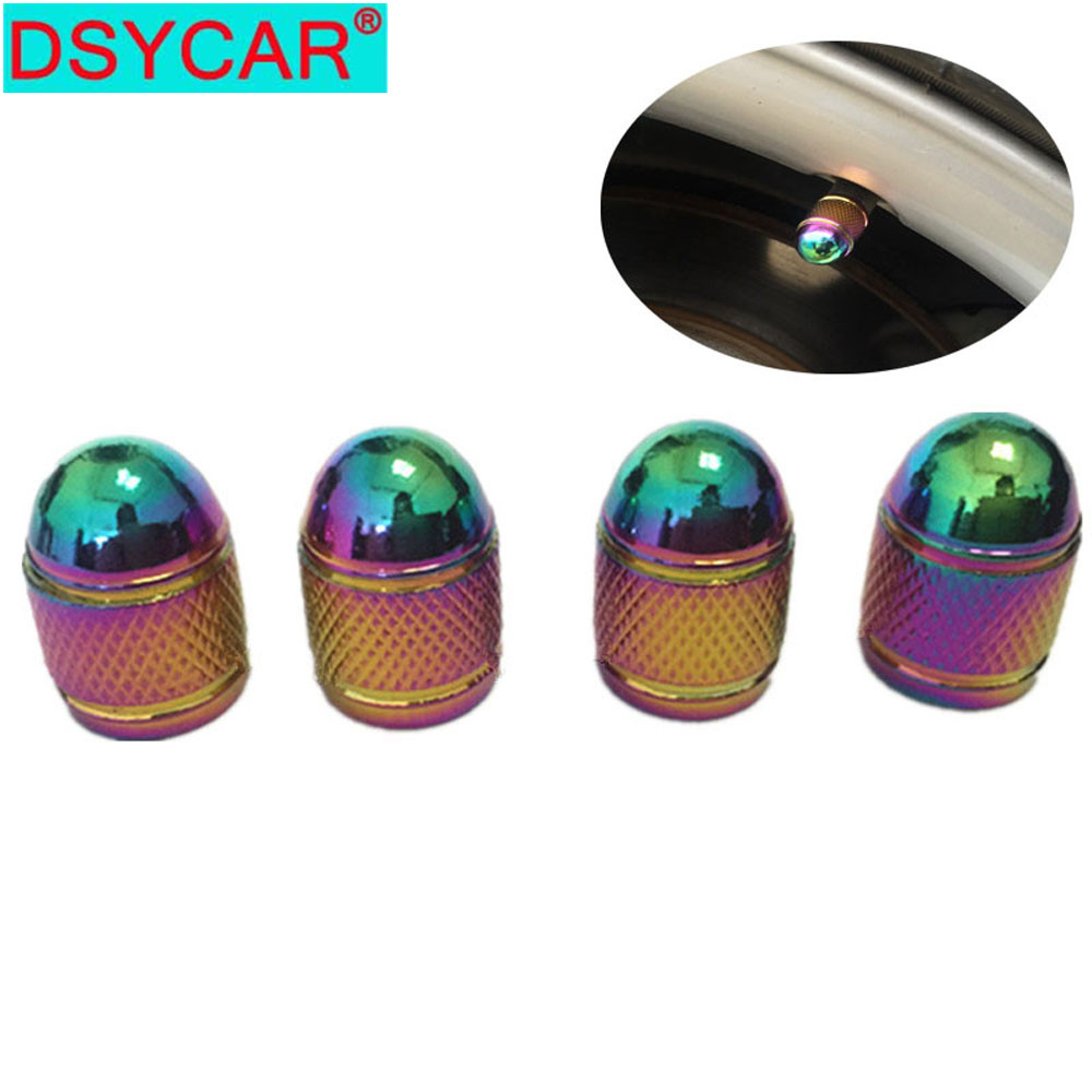 DSYCAR 4pcs/lot Car Tires Wheel Valve Cap Bike Moto Tyre Rim Valve Caps Dust Cover Car Styling For Fiat Audi Ford Bmw VW Car