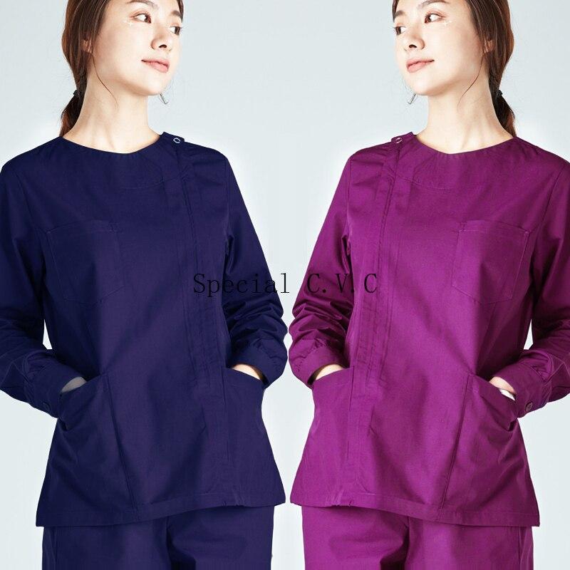Women Zipper Opening Long Sleeve Scrub TOP Slim Fitting Big Pockets Medical Uniforms Round Collar Coat Doctor Nurse Workwear