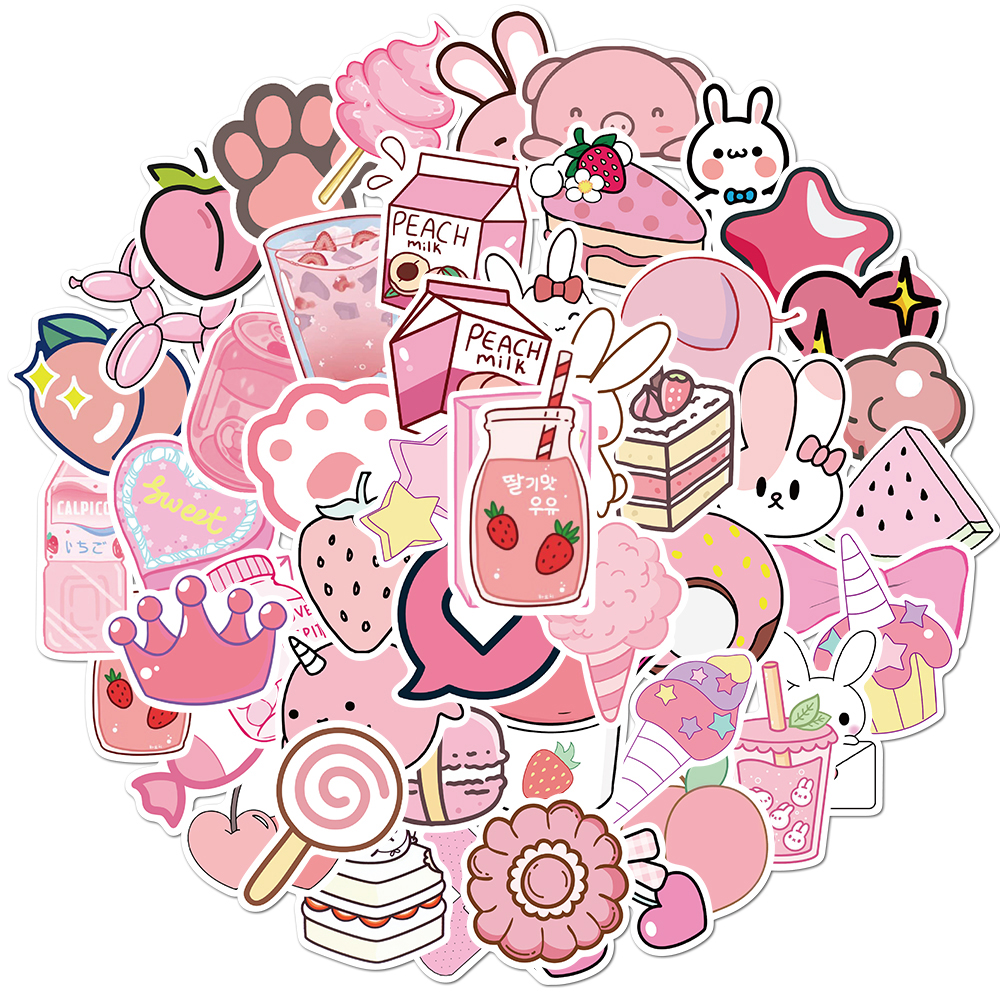 50pcs Cartoon Kawaii Pink Stickers For Girls Luggage Laptop Skateboard Bicycle Backpack Decal Toy Stickers For Children Gift