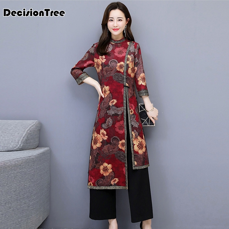 2019 Asian Clothing Aodai Vietnam Cheongsam More Feminine Dress For Women Chinese Traditional Dress