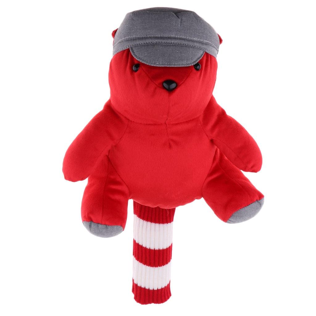 Creative Hat Bear Golf Head Covers 460CC Driver Wood Clubs Headcovers Sets Plush Cloth
