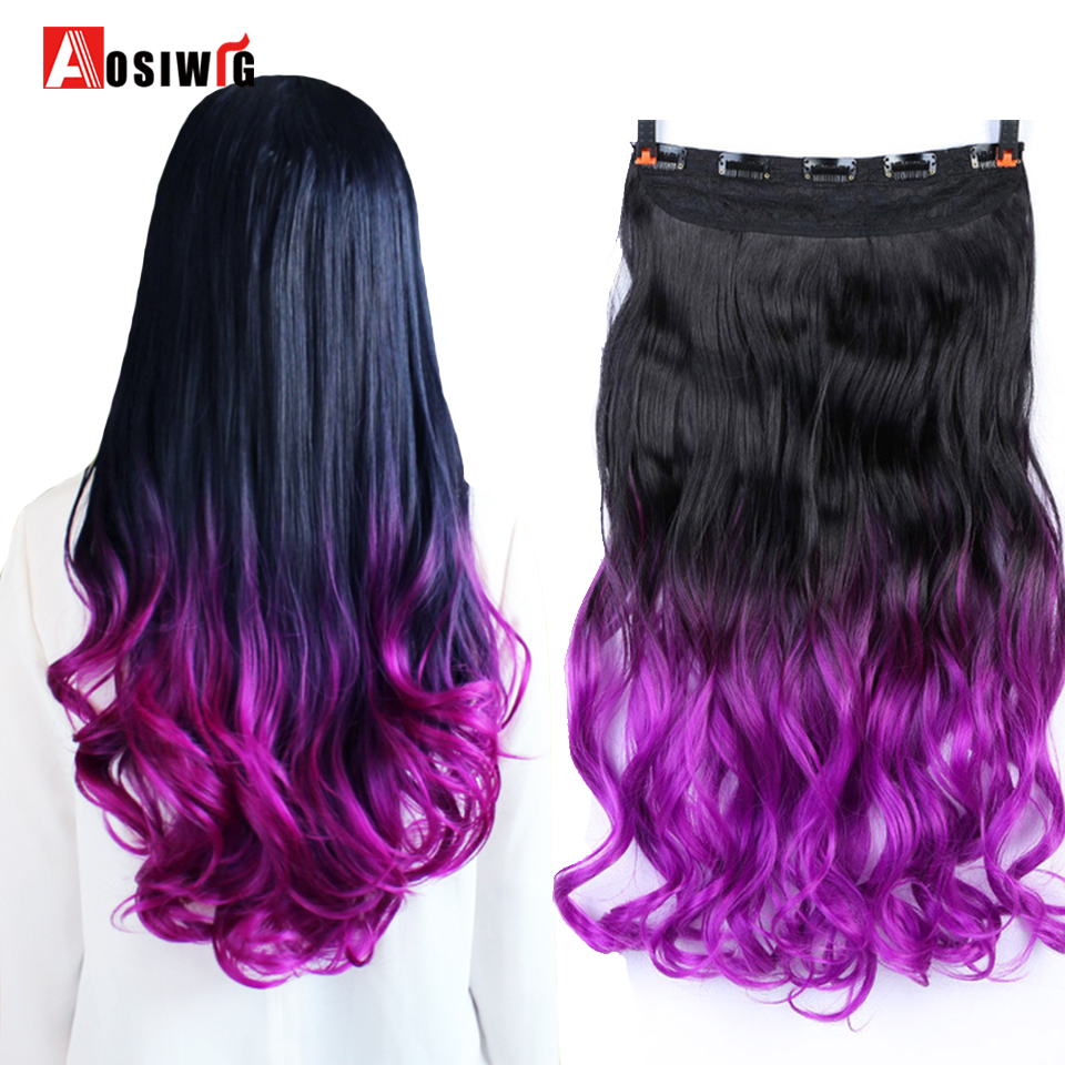 AOSIWIG Ombre Colors Wavy 5 Clips On Clip In Hair Extensions Heat Resistant Synthetic Fiber Loose Hairpiece For Women