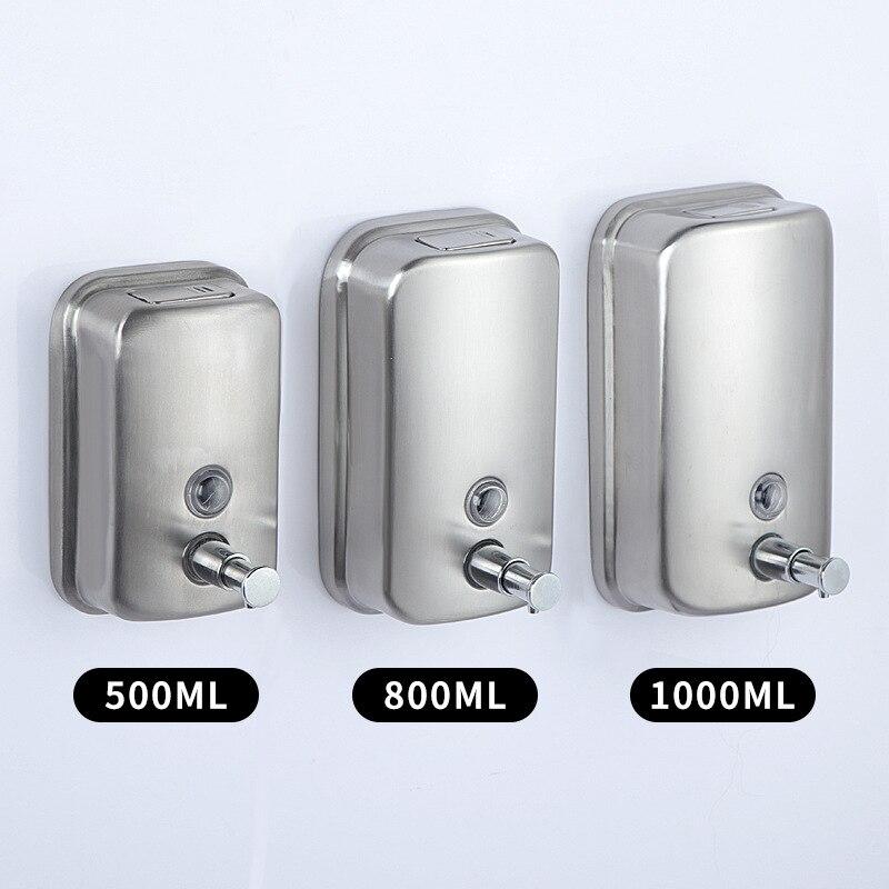 Настенный дозатор для мыла и шампуня, из нержавеющей стали, 500/800/1000 мл