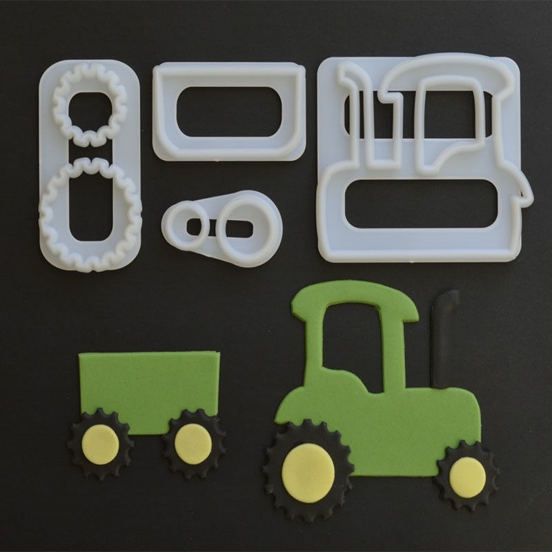 4 PCS/Set Special Vehicles Theme Fashion Cute Cartoon Cake MoldPlastic Cake Cookie Plunger Cutters Fondant Molds DIY Gift