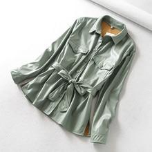 Jacket Ailegogo Coat Streetwear-Coats Casual Women Shirt Tie with Belt Tops Single-Breasted