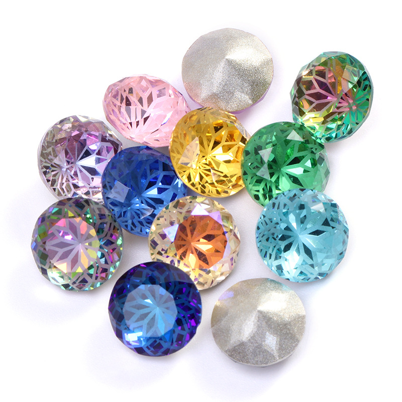 New style 10mm 15pcs/pack Round shape Lotus hot pointback K9 Crystal Glass loose rhinestones,nail art/Diy/Clothing accessories