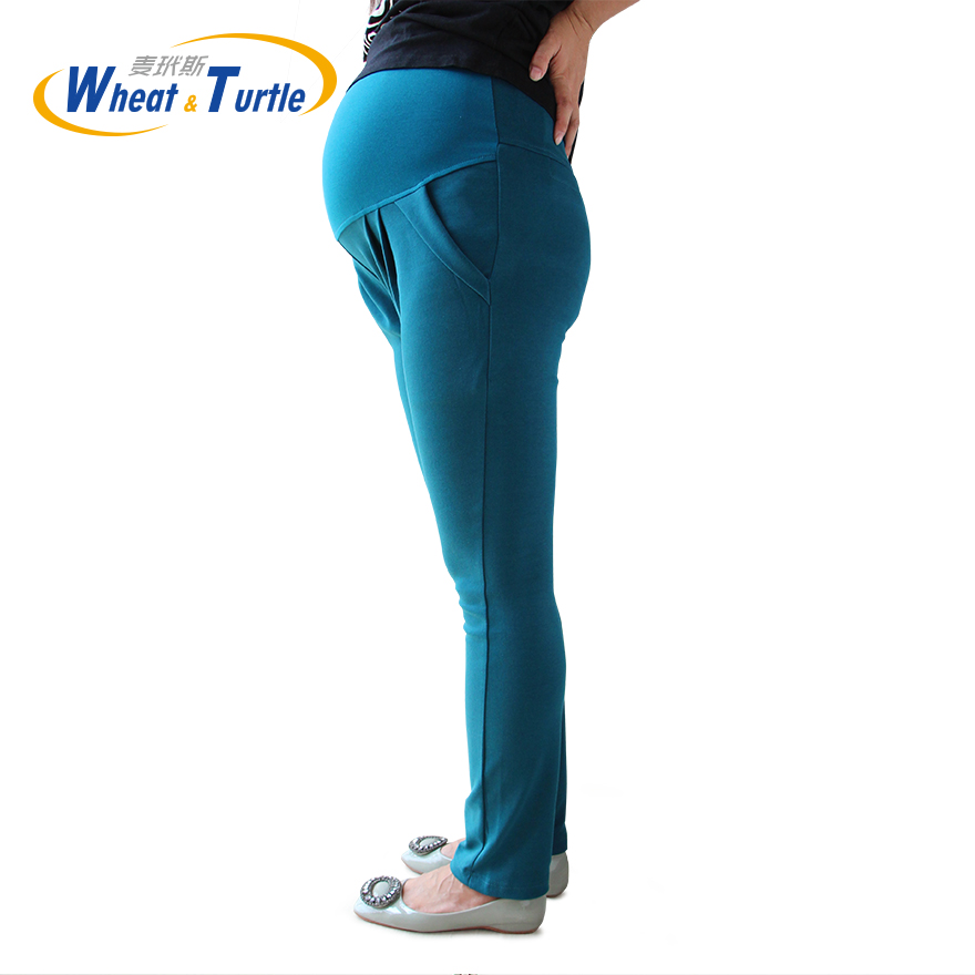 2020 New Arrival Good Quality Cotton Peacock Blue Maternity Capris All Match All Season Casual Harlan Pants For Pregnant Women