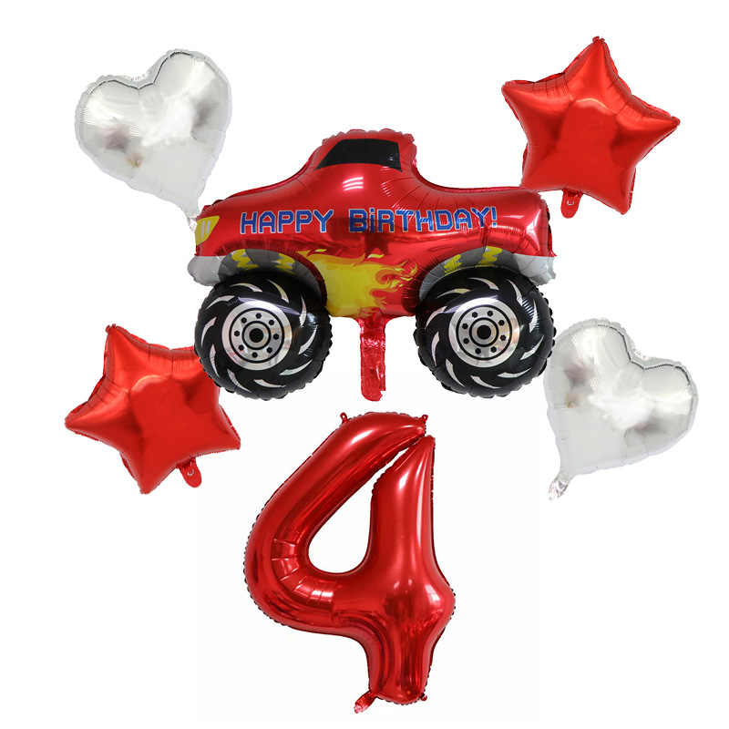 6Pcs Blaze Monster Machines Folie Ballon Gelukkige Verjaardag Party Deco Bal Jongen Gift Tank Bus Fire Car Vakantie Ballonnen party Leveranties