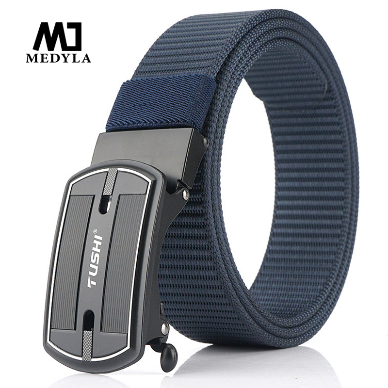 MEDYLA 2020 New Men's Belt Automatic Buckle Canvas Belt Nylon Belt Canvas Belt Youth Student Fashion Belt Dropshipping