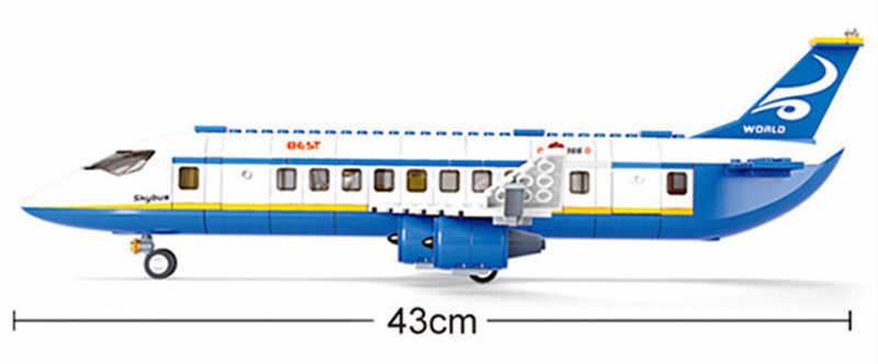 463Pcs City Airport Aeromobili Airbus Aereo Aereo Brinquedos Avion Technic Blocchi di Costruzione Mattoni Educativi Giocattoli per I Bambini