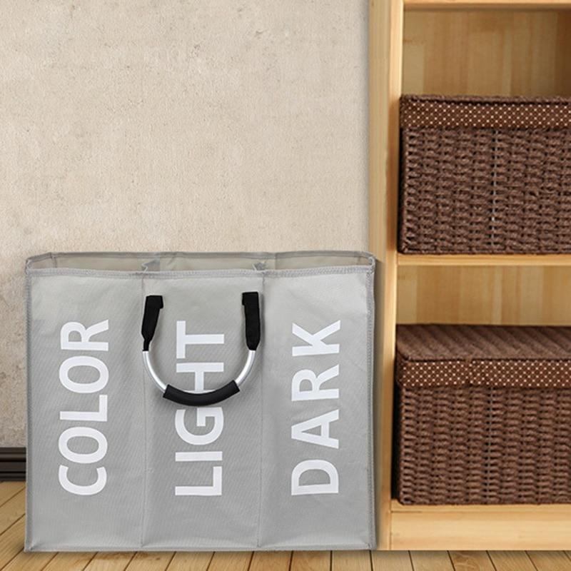 Органайзер для белья с тремя отделениями, сумка для грязной одежды, игрушек, бюстгальтеров, сумка для стирки, трёхсекционная Складная практ...