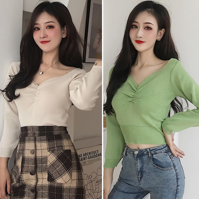 Korean Style Women Sweaters Solid Color V Neck Autumn Ladies Knitwear Clothing Pull Femme Pullover