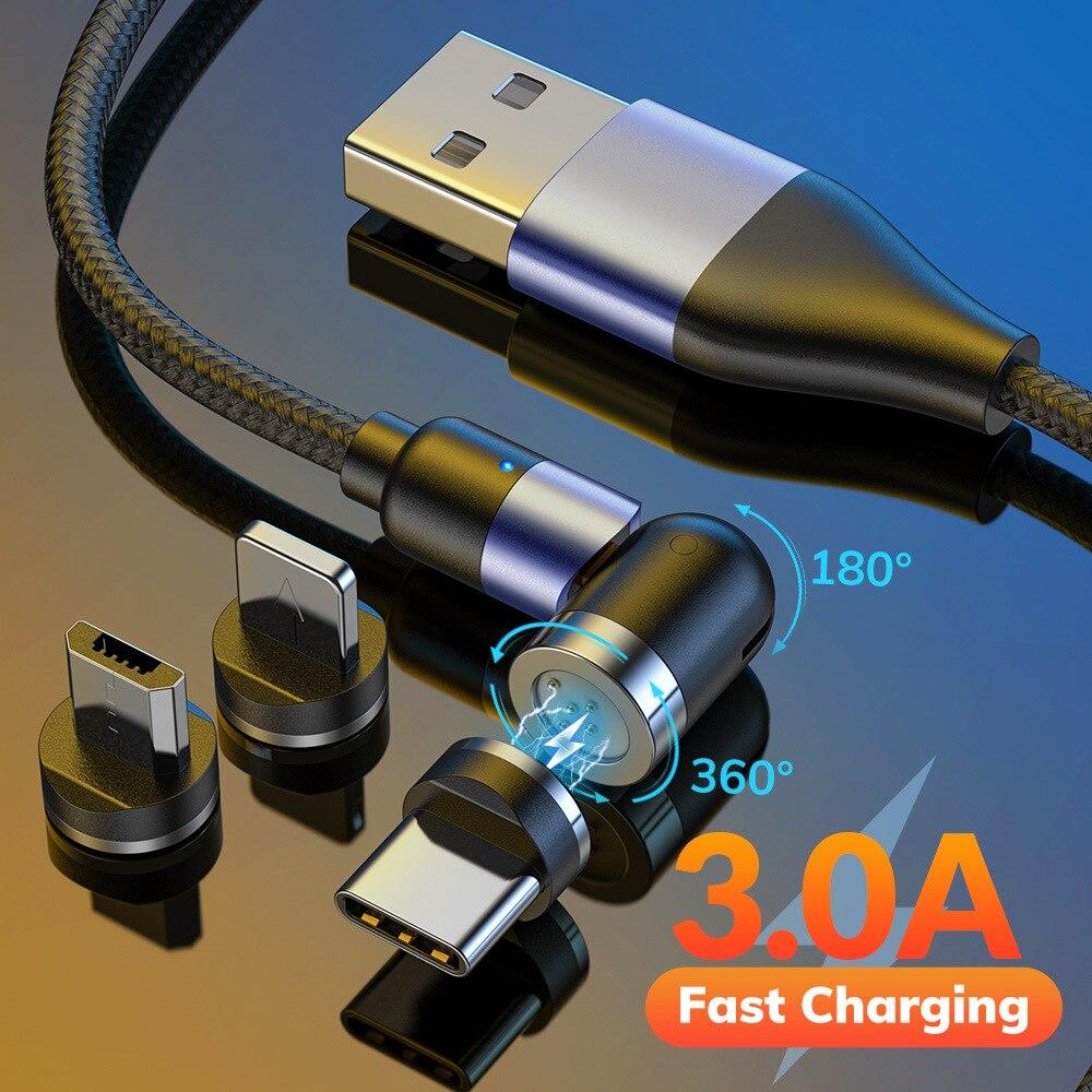 Вращающийся на 540 градусов Магнитный кабель Micro USB Type C телефонный кабель для iPhone 12 11 Pro XS Max Samsung Xiaomi USB шнур провод кабель