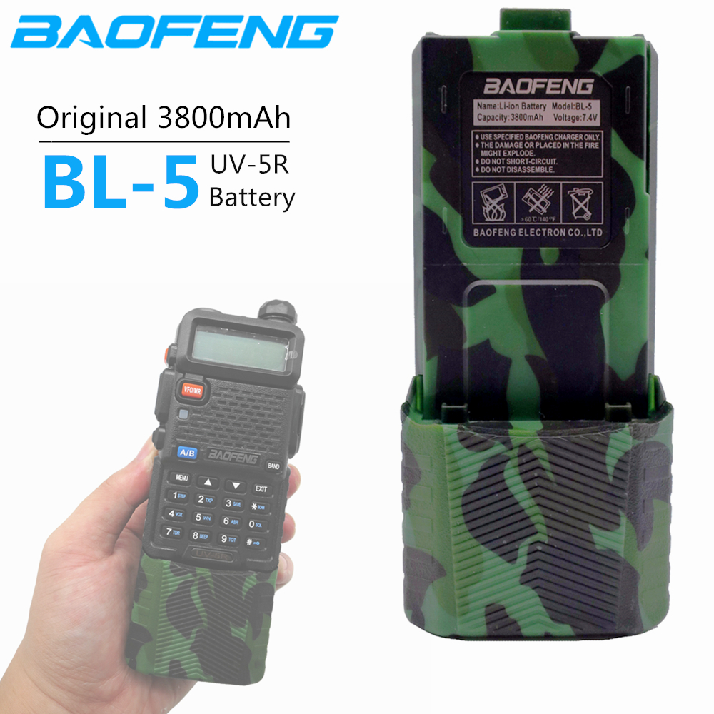 100% Original Baofeng UV-5R 3800 MAh Enlarge BL-5 7.4V Rechargeable Li-on Battery For Baofeng UV 5R UV5R UV-5RE Plus BF-F8+
