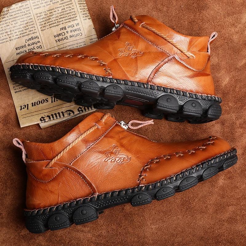 Alta qualidade de couro genuíno dos homens botas moda zíper sapatos masculinos couro de vaca homem marrom tornozelo botas 2019 outono mais tamanho 38-48 4
