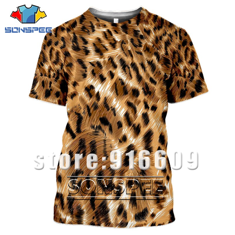 Harajuku Summer Shirts Leopard Print 3D Funny T Shirt Homme Tshirt Tiger T-shirt Men Women Streetwear Cosplay Animal Fur Clothes