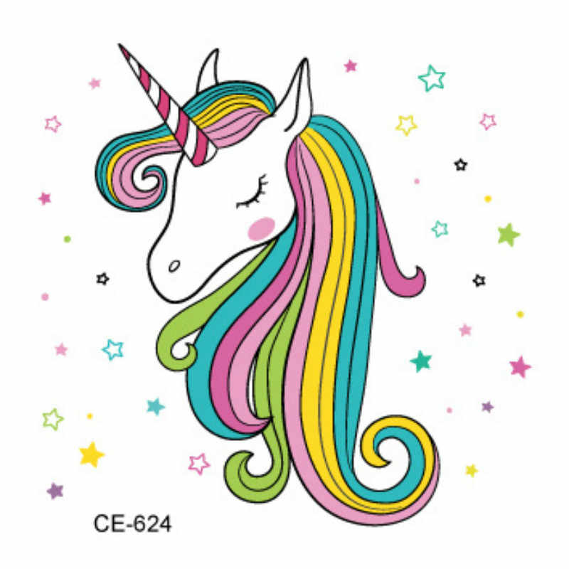 1pcs Lovely Unicorn Tattoo Sticker Party Favors Birthday Party Supplies Gift Kid Party Favors Gift for Guest Christmas Halloween
