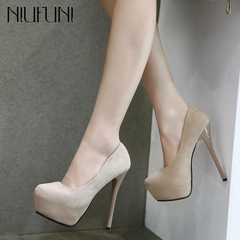 NIUFUNI 2020 Fashion High Heels Flock