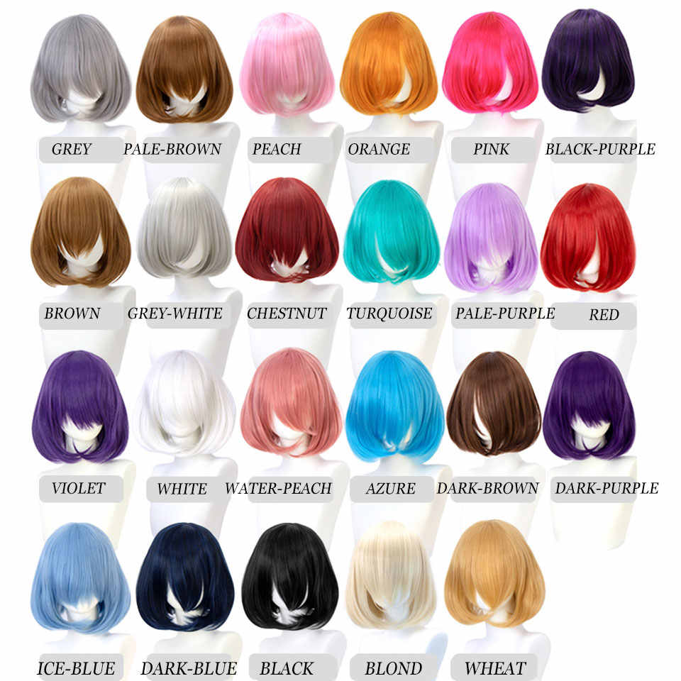 Peluca sintética bob corto pelo liso con flequillo lolita Rosa rojo azul peluca cosplay púrpura para mujeres mumumupi