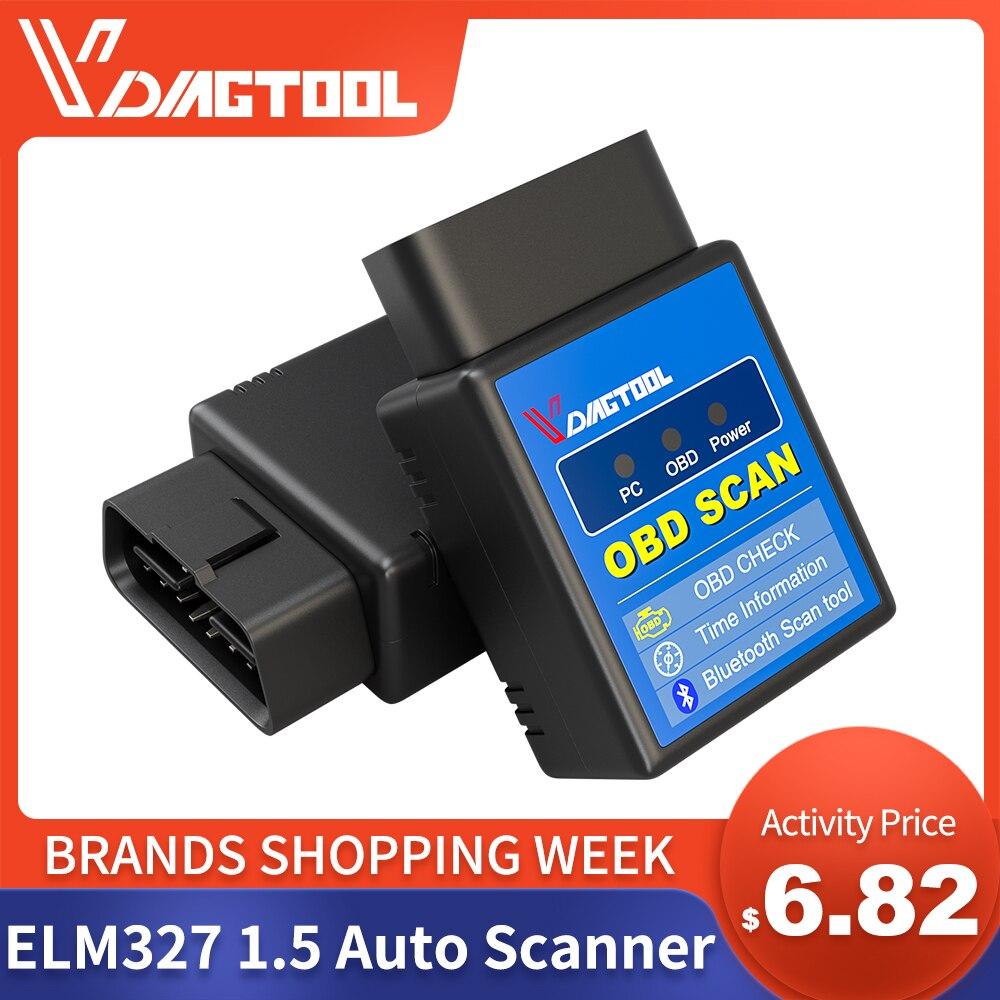 VDIAGTOOL ELM327 1.5 otomatik tarayıcı aracı ELM 327 Bluetooth sürümü OBD2 için OBDII Android tork araba kod okuyucu