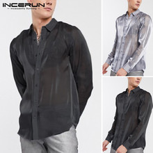 INCERUN Men Shirt Party Clubwear Sexy See Through Tops Solid Color Brand Long Sleeve Blouse Mesh Fashion Men Lapel Shirts S-5XL mock neck see through mesh blouse