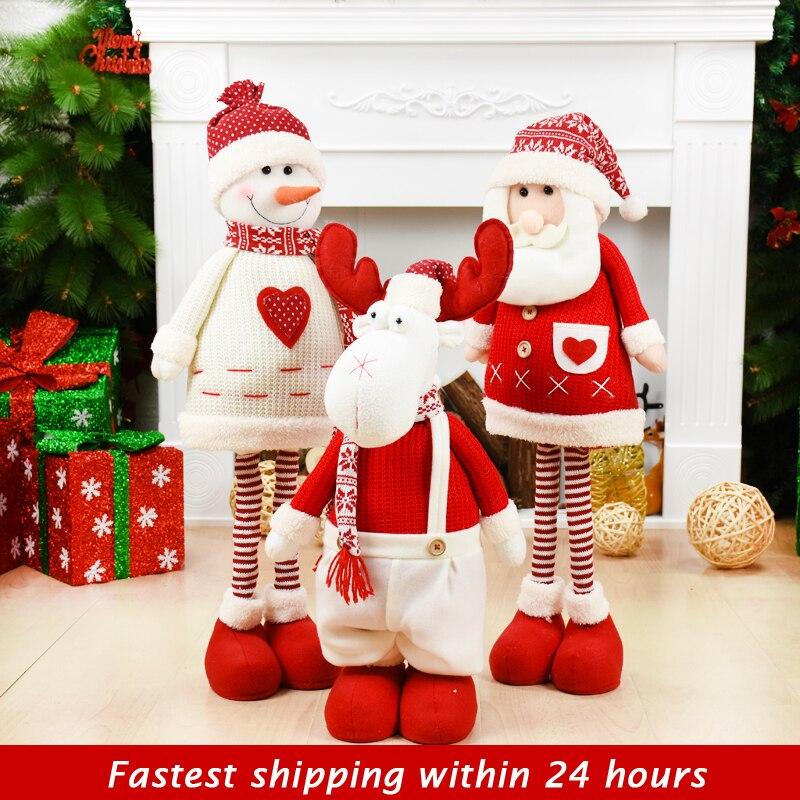 Tamanho grande bonecas de natal retrátil papai noel boneco de neve elk brinquedos de natal estatuetas presente de natal para o miúdo vermelho ornamento da árvore de natal Enfeites p/ árvore de Natal     - title=