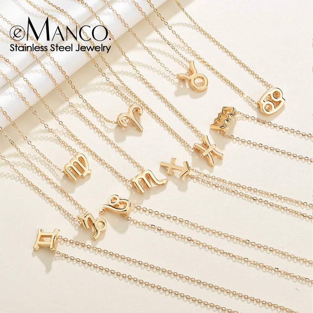 eManco gold stainless steel zodiac necklace for women 12 zodiac signs chokers necklace women jewelry(China)