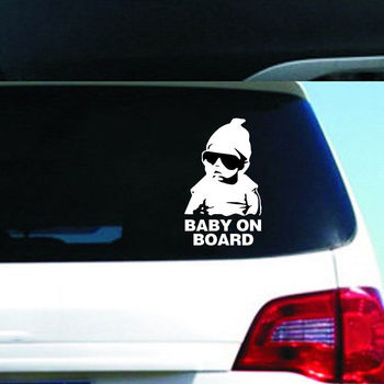 Black/white Baby on Board Safety Sign Car Decals Stickers Reflective Sunglasses Child Car Stickers Warning Decals 15x9cm image