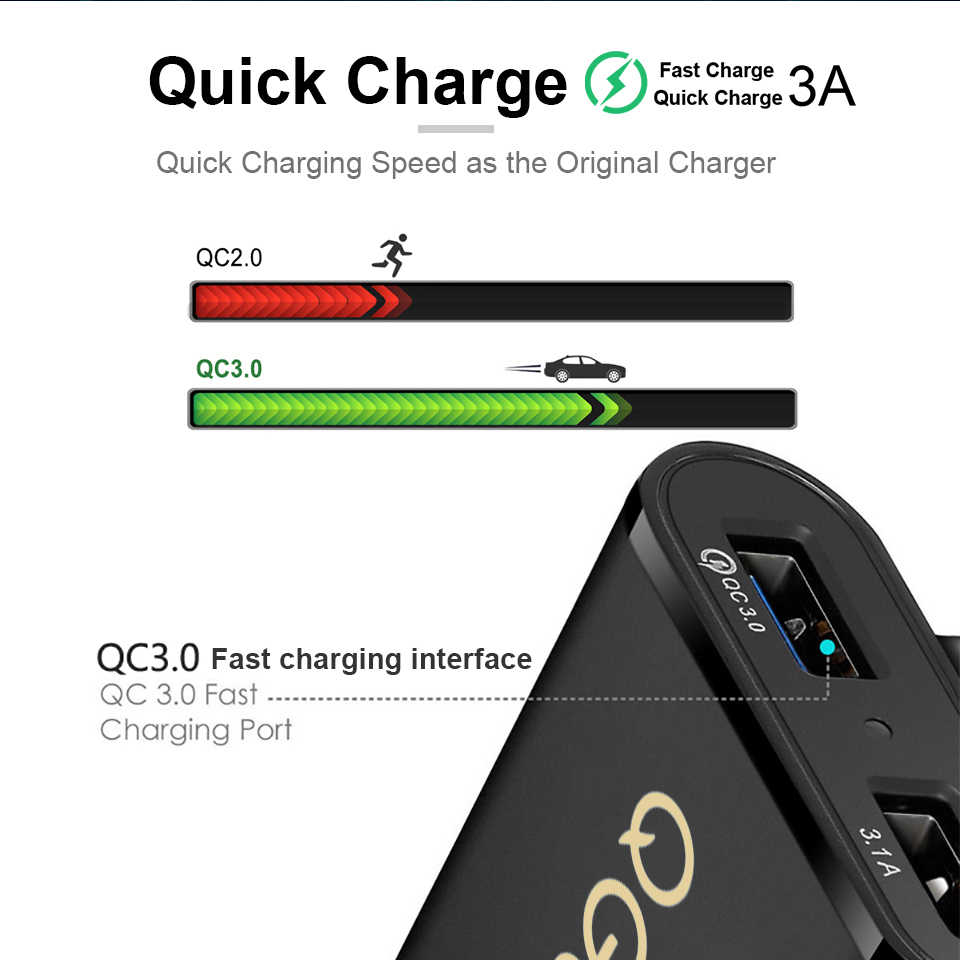 Qgeem 4 Usb Qc 3.0 Autolader Quick Charge 3.0 Telefoon Auto Snelle Front Back Charger Adapter Auto Draagbare Oplader plug Voor Iphone