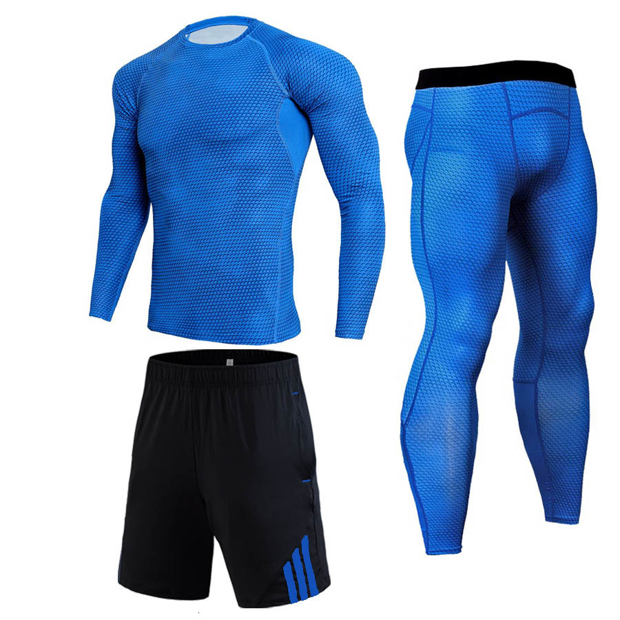 Brand Men Compression Set Skinny Long Sleeve T-shirt Gyms Fitness Bodybuilding Tee Tops Male Sportswear Suit Clothing Plus Size