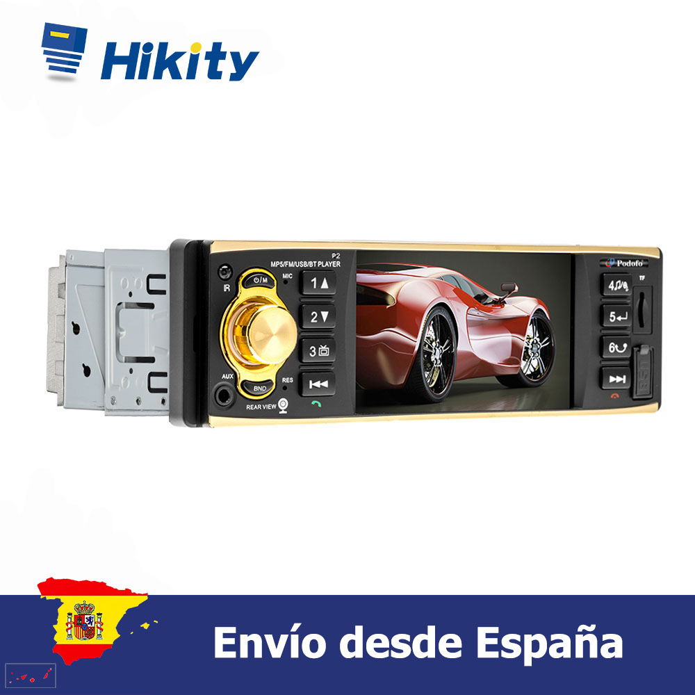 Hikity 1 din 4'' HD Car radio Support Bluetooth Autoradio Rear View Camera with Steering Wheel Control image
