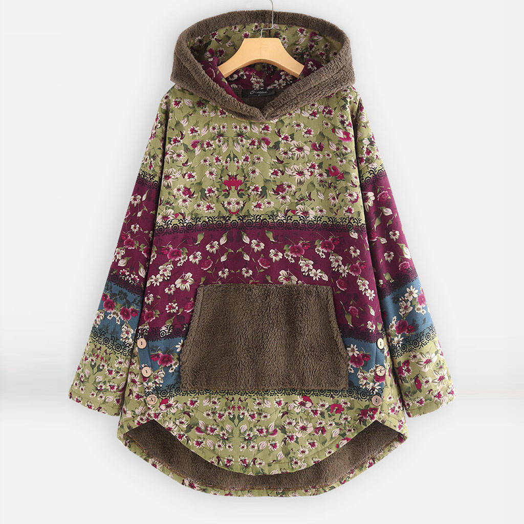 H0cdf5b575a20475ea673e860301a4b058 Female Jacket Plush Coat Womens Windbreaker Winter Warm Outwear Retro Print Hooded Pockets Vintage Oversize Coats Plus Size 5XL