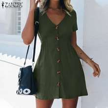 Shirt Dresses Elegant Zanzea Fashion Women Summer Buttons V-Neck Solid Vestidos