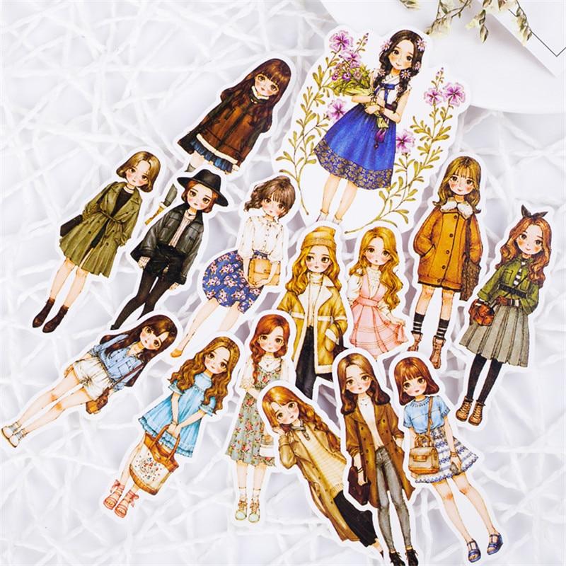 1pack Girl Sticker PVC Scrapbook Hand Book Diary Stickers Kawaii Cartoon Girls Waterproof Stickers Toys Kids Children Pegatinas