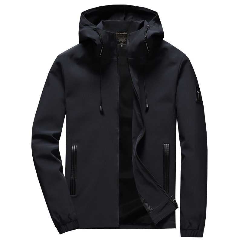 2020 New Brand Jacket Men Zipper Winter Spring Autumn Casual Solid Hooded Jackets Men's Outwear Slim Fit High Quality M 8XL 46