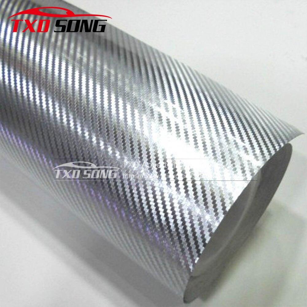 10/20/30/*40/50/60CM X 152CM/LOT Chrome Silver 3D Carbon Fiber Car Wrapping Film Chrome 3D Carbon Film Chrome Carbon Car Sticker