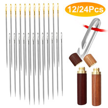 12/24 Pcs Blind Needle Elderly Needle-side Hole Hand Household Sewing Stainless Steel Sewing Needless Threading Apparel Sewing