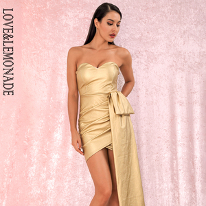Image 3 - LOVE&LEMONADE Sexy Gold Bandeau V Neck Double Streamers Cross PU Material Mini Party Dress LM82017