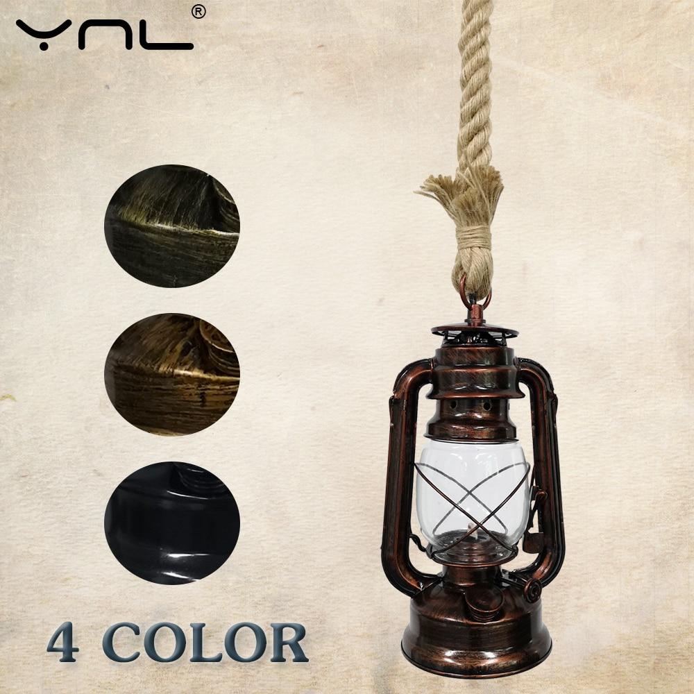 Retro Kerosene Pendant Lights Hemp Rope E27 85-265V 220V Pendant Lamp Lamparas De Techo Colgante Moderna Vintage Hanglamp