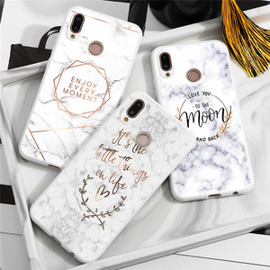 Marble Letters Matte Cover For Huawei P40 P30 P20 Pro P Smart Honor 20 10 Lite 20i 10i 8X Y9 Prime 2019 Case Geometric Pineapple(China)