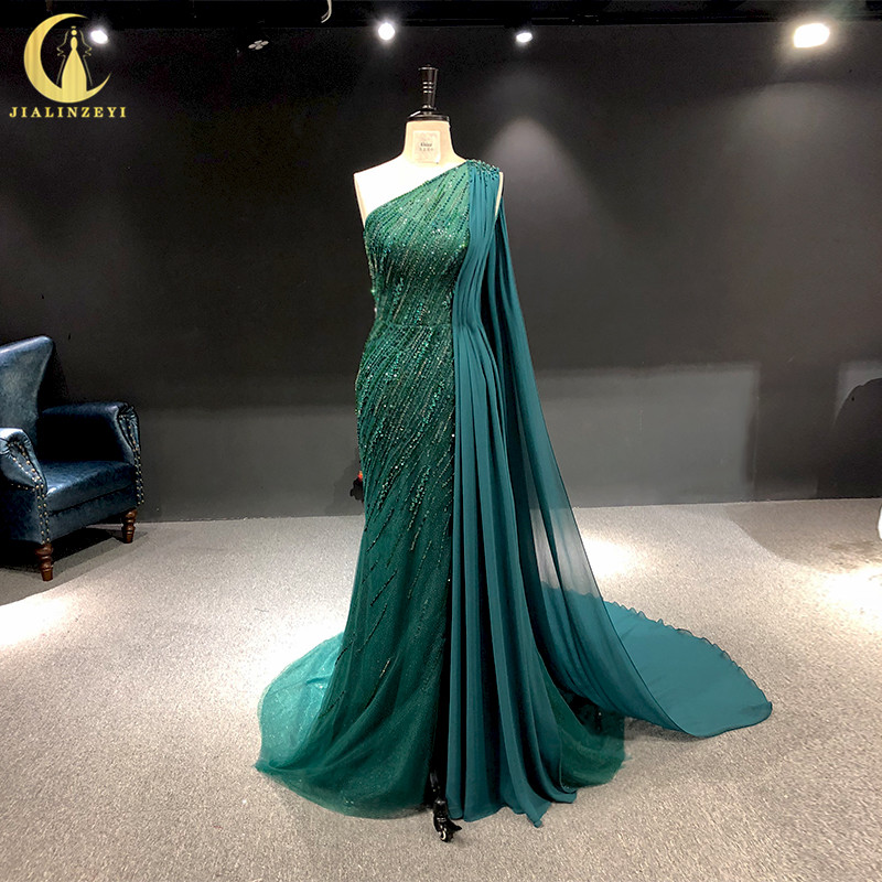 Rhine Real Pictures One Shoulder Green Beads Crystal Mermaid With Chiffon Arabic Evening Dresses Long