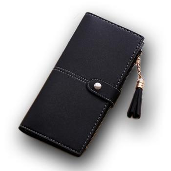 Tassel Wallet Women Long Cute Leather Zipper Portefeuille Female Purse Clutch Cartera Mujer Matte