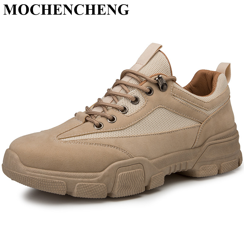 Men Tooling Boots Autumn Casual Shoes Black Khaki Beige Lace-up Sneakers Breathable Anti-skid Design Adult Amle Martin Boots