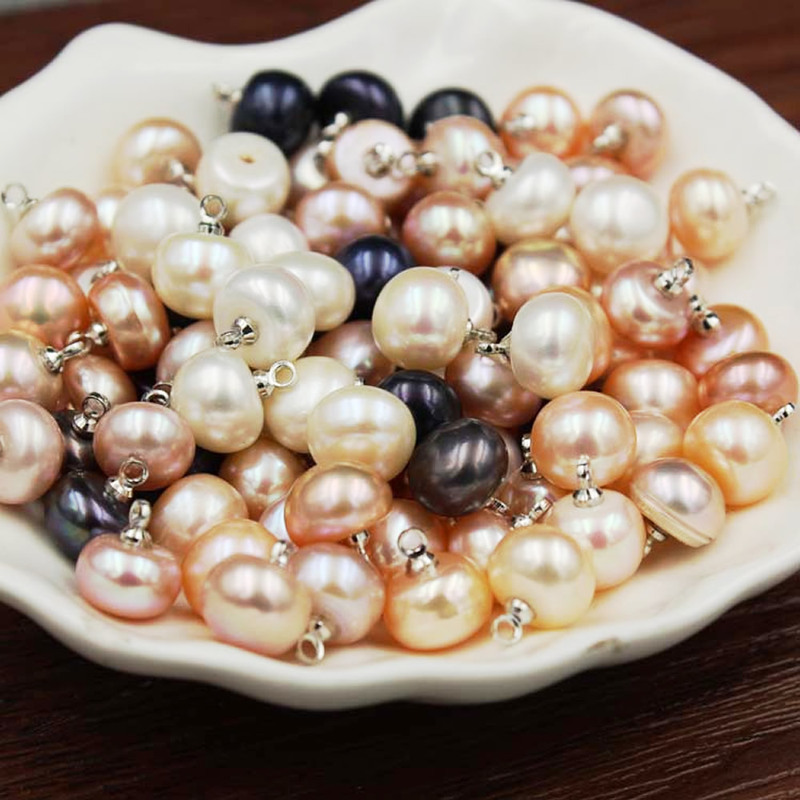 9-10mm Natural Freshwater Pearls Stylish Pendant Button Loose Beads New Fashion Jewelry Making DIY Necklace Bracelet Accessories
