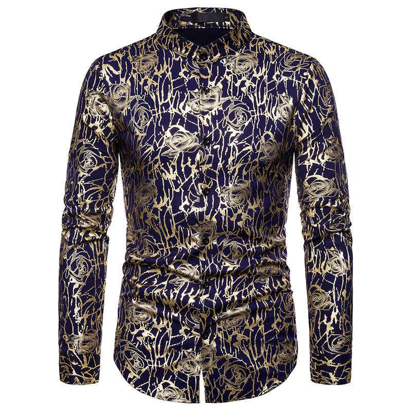 Camisa de diseño de marca de diseño para hombre de moda para Club, Camisa de manga larga y ajustada para fiesta barroca camisa