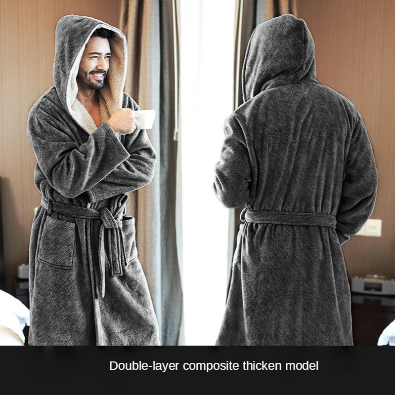 Fashion New Home Men's Pajamas Fall/Winter Thick Coral Fleece Nightgown Double-layer Hooded Men's Bathrobe Morning Gown